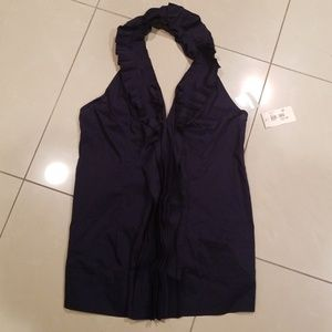 Pleated and Ruffled Navy Halter Top